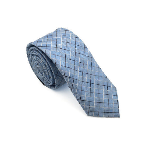 Blue Cotton Plaid Tie - Enzo