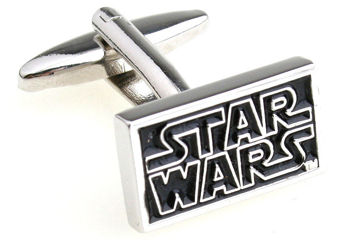 Black and Silver Superhero Cufflinks - Star Wars Logo