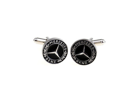 Silver and Black Car Cufflinks - Mercedes Benz Logo