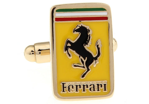 Yellow and Black Rectangle Car Logo Cufflinks - Ferrari
