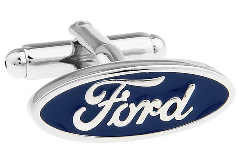 Silver and Blue Oval Car Logo Cufflinks - Ford (Blue)
