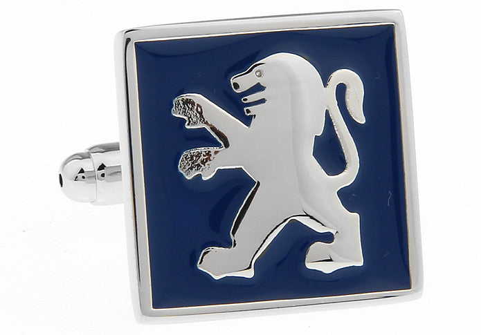Silver and Blue Cars Cufflinks - Peugeot Logo