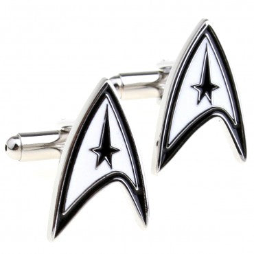 Black and White Superhero Cufflinks - Star Trek Logo