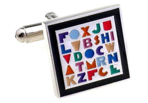 Colorful Novelty Alphabets Cufflinks