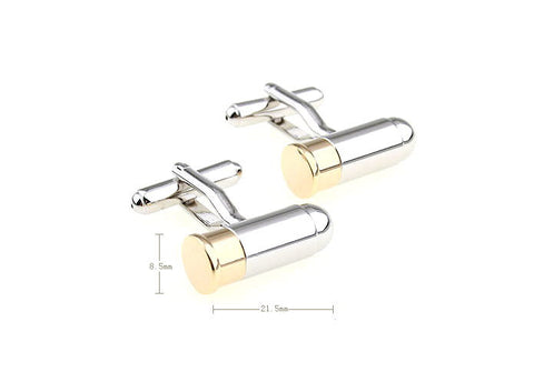 Novelty Cufflinks - Gold and Silver Novelty Cufflinks - Bullet - The Little Link