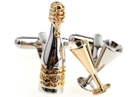 Novelty Cufflinks - Silver and Gold Novelty Cufflinks - Champagne Time - The Little Link