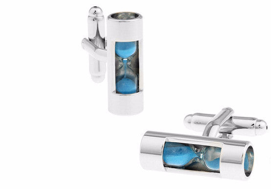 Silver and Blue Novelty Cufflinks - Hourglass (Blue)