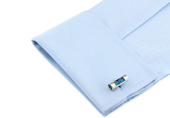 Novelty Cufflinks - Hourglass (blue) - The Little Link