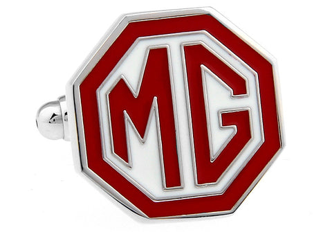 White and Red Cars Cufflinks - MG Logo