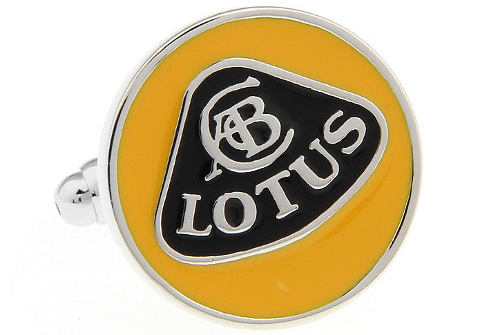 Yellow and Black Car Cufflinks - Lotus Logo
