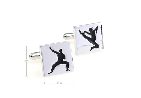 Silver and Black Sports Cufflinks - Kung Fu
