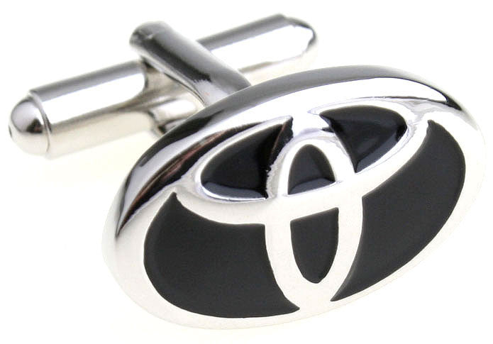 Black and Silver Cars Cufflinks - Toyota Logo