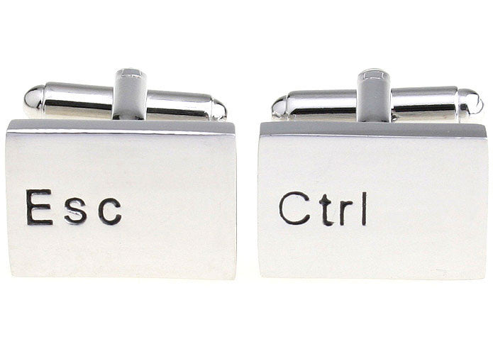 Silver Rectangle Geek Cufflinks - Escape Control