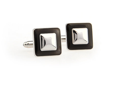 Black and Silver Square Classic Cufflinks - Simplicity