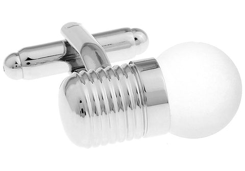 Silver Novelty Cufflinks - Lightbulb
