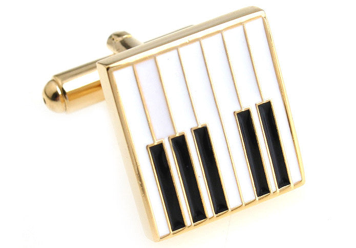 Gold and White Music Cufflinks - Piano Keys (White)