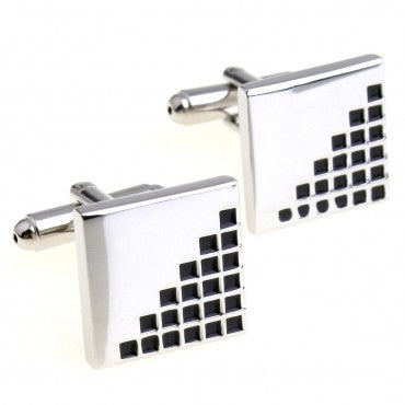 Silver and Black Square Classic Cufflinks - Ladder