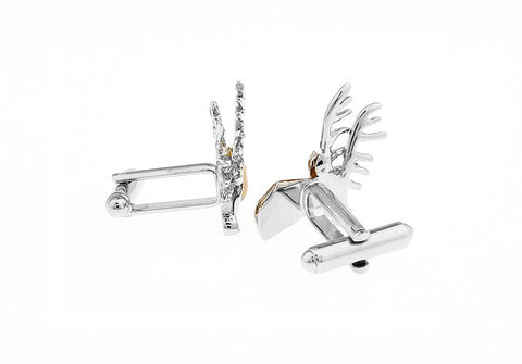 Silver and Brown Christmas Animal Cufflinks - Rudolf the Reindeer
