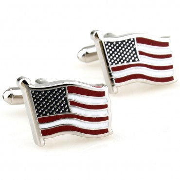 Novelty Cufflinks - Red and Blue Flag Cufflinks - American - The Little Link
