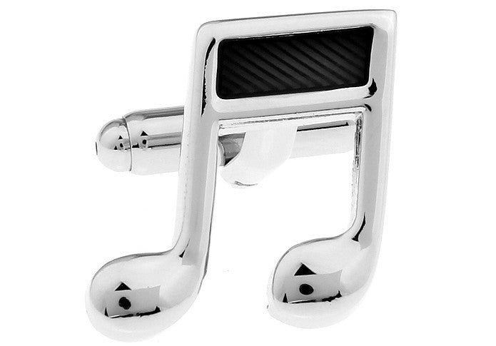 Silver and Black Hipster Music Cufflinks - Do Re Mi