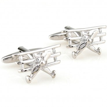 Silver Novelty Airplane Cufflinks - Fighter Jet