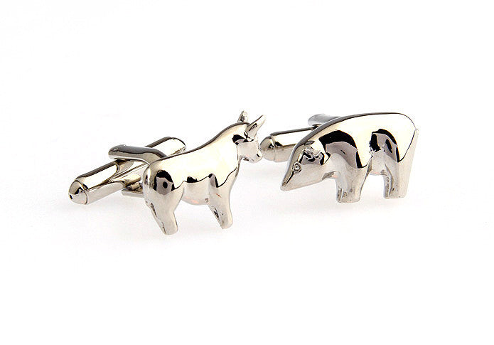 Novelty Cufflinks - Silver Finance Cufflinks - Bulls and Bears (Silver) - The Little Link
