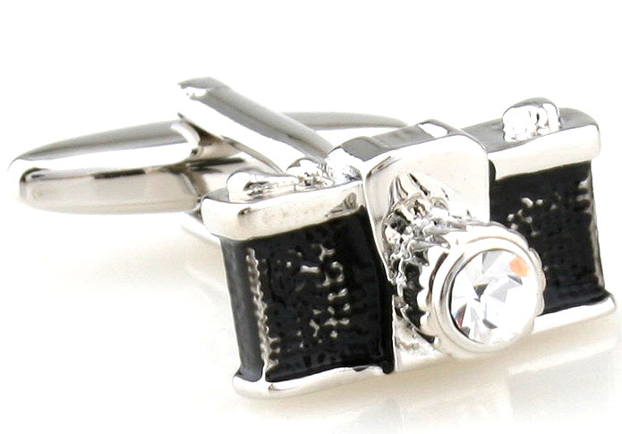 SIlver and Black Hipster Cufflinks - Retro Shot Camera