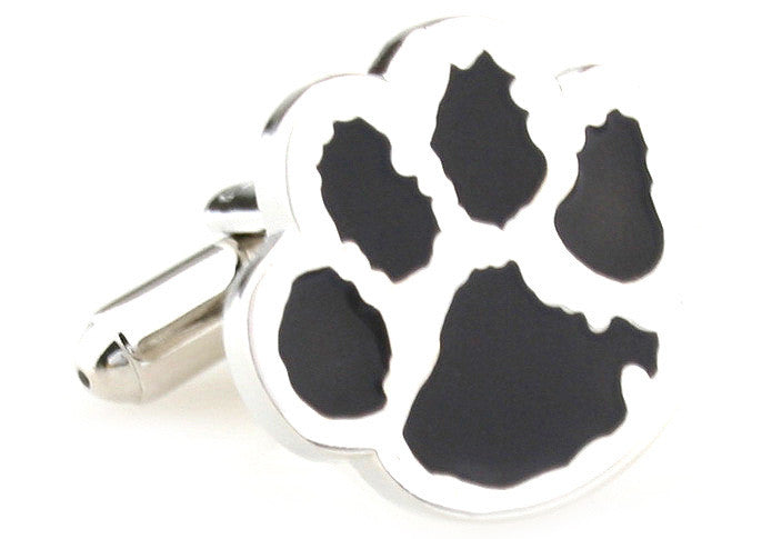 Silver and Black Animal Cufflinks - Paws