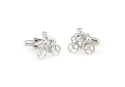 Novelty Cufflinks - Silver Sports Cufflinks - Biker Boy - The Little Link