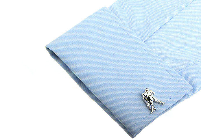 Novelty Cufflinks - Silver Horoscope Cufflinks - Aquarius - The Little Link