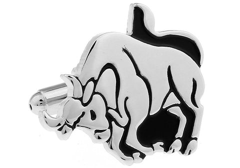 Silver and Black Horoscope Cufflinks - Taurus
