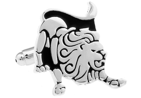 Silver and Black Horoscope Cufflinks - Leo Star Sign