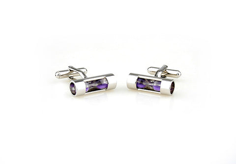 Silver and Purple Novelty Cufflinks - Hourglass (Purple)