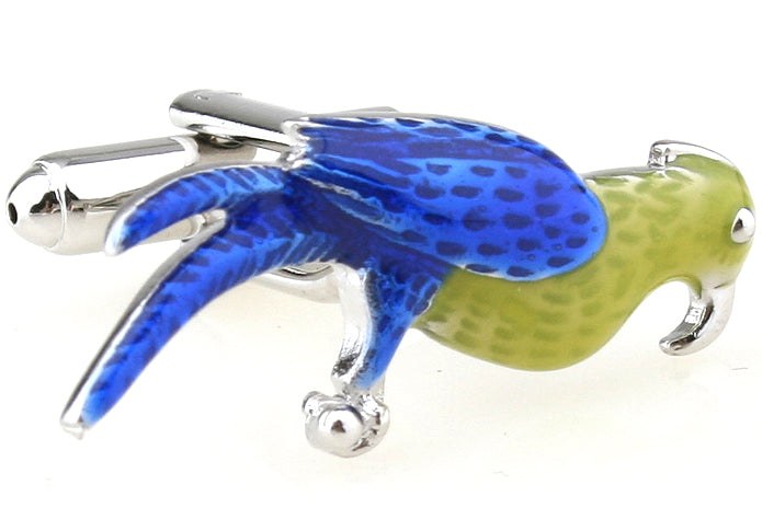 Blue and Yellow Animal Cufflinks - Paranoid Parrot