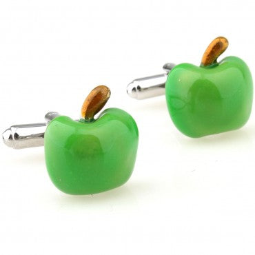 Green Novelty Food Cufflinks - Green Apple