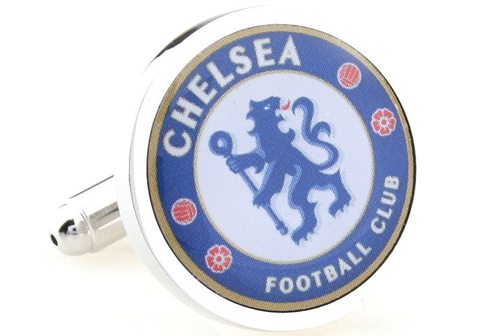 Novelty Cufflinks - Blue Soccer Logo Cufflinks - Chelsea - The Little Link