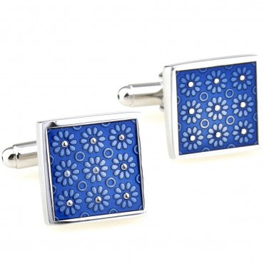 Classic Cufflinks - Blue Classic Polka Dot Square Cufflinks - Blue Illusion - The Little Link