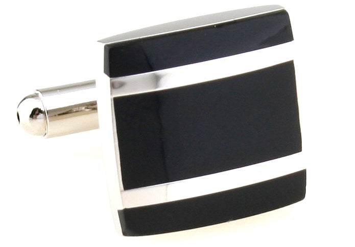 Black and Silver Square Classic Cufflinks - Parallels