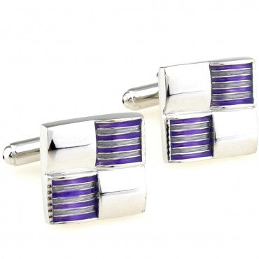 Classic Cufflinks - Silver and Purple Square Classic Cufflinks - Compartment - The Little Link