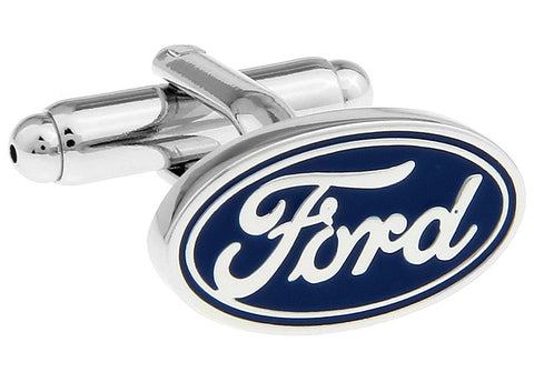 Silver and Blue Oval Car Logo Cufflinks - Ford