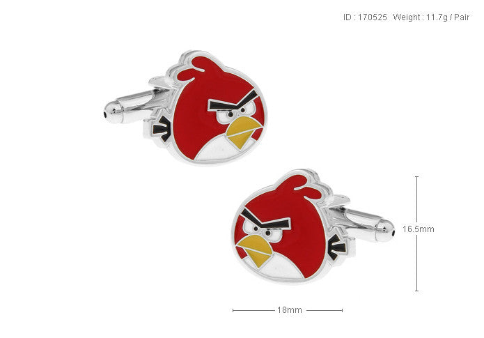 Novelty Cufflinks - Red Cartoon Cufflinks - Angry Birds (Red) - The Little Link