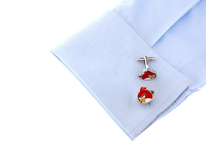 Novelty Cufflinks -Red Cartoon Cufflinks - Angry Birds (Red) - The Little Link