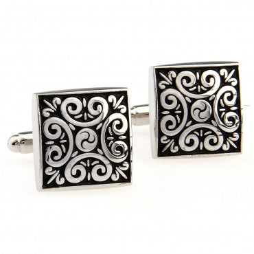 Black and Silver Square Classic Cufflinks - Cult