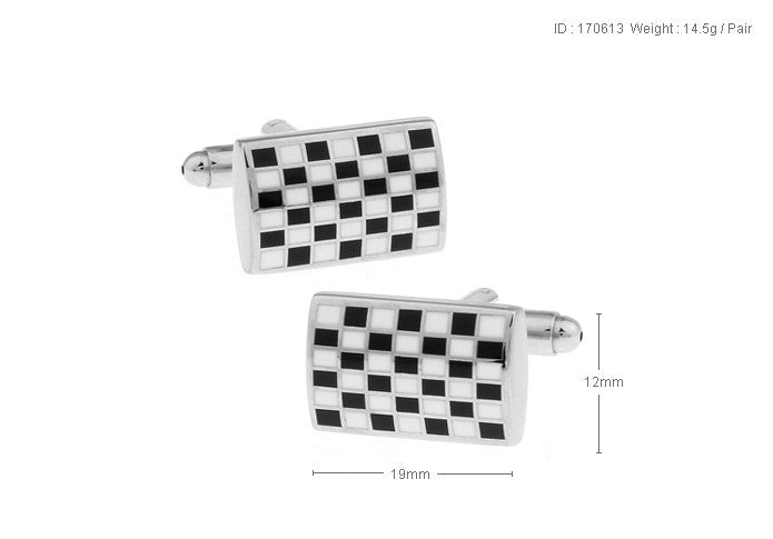 Classic Cufflinks - Black and White Mosaic - The Little Link
