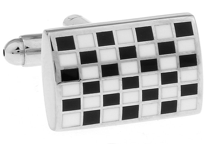 Classic Cufflinks - Monochrome Classic Rectangle Cufflinks - Black and White Mosaic - The Little Link