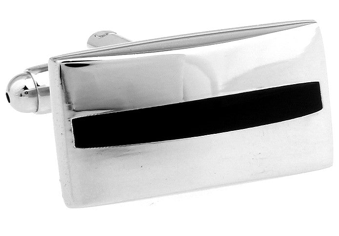 Silver and Black Rectangle Classic Cufflinks - Singles