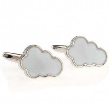 Silver and White Novelty Cufflinks - Dreamy Cloud