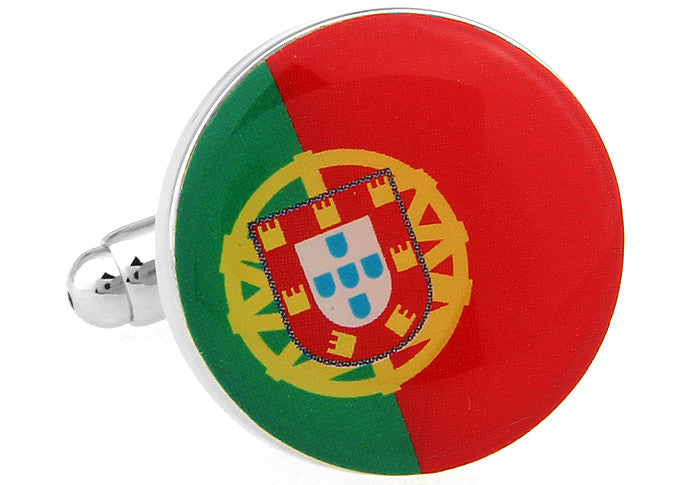 Red and Green Round Flag Cufflinks - Portugal