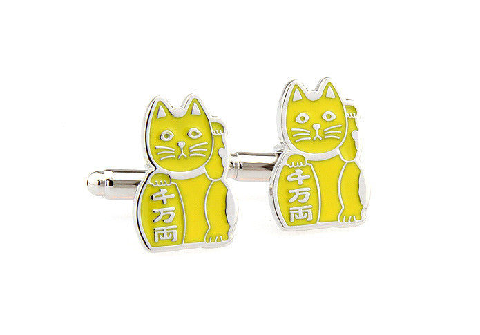 Novelty Cufflinks - Lucky Cat (Yellow) - The Little Link