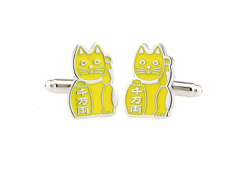 Yellow Animal Cufflinks - Lucky Cat (Yellow)